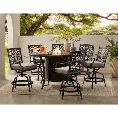 member s mark agio hastings 7 piece high dining with fire pit and sunbrella fabric