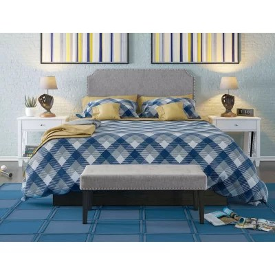 tufted upholstered full queen headboard and bench set assorted colors