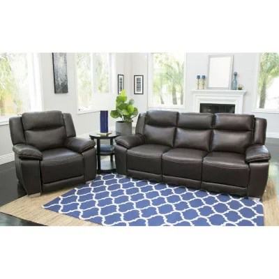 abbyson living belmont leather sofa shannon and fabric corner sam s club jaylen top grain pushback reclining chair brown
