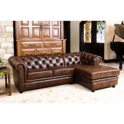 2 piece brown leather sofa intex inflatable bed top grain sam s club barcelona sectional