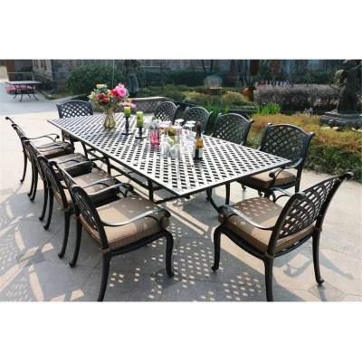 11 piece outdoor aluminum cushioned dining set