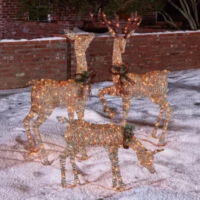3 Piece Lighted Deer Family Sams Club