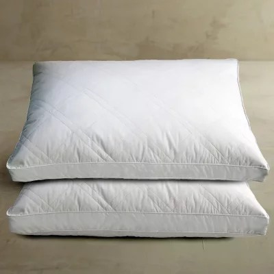 quilted white goose feather and down pillow jumbo 2 pack