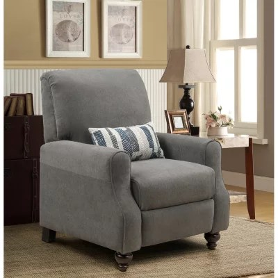 grey club chair toddler booster high recliner chairs rockers lounges sam s shelby leg with kidney accent pillow