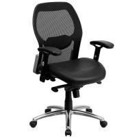 Ergonomic Mesh Office Chair with Black Leather Seat - Sam ...