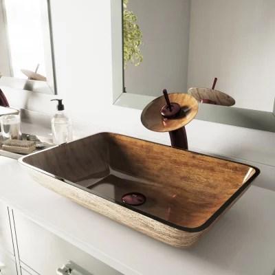 vigo rectangular amber sunset glass vessel bathroom sink