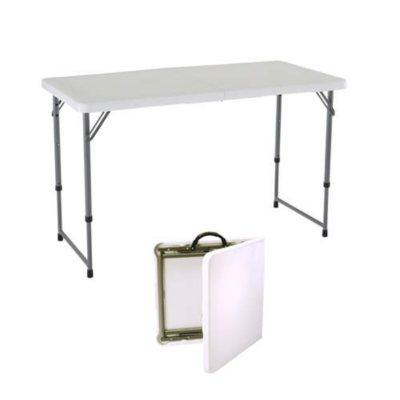 Lifetime 4 Adjustable FoldinHalf Table  White Granite