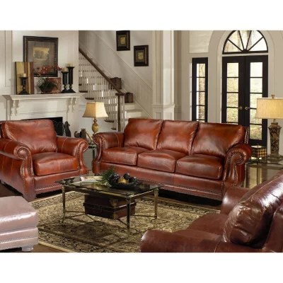 leather couch and chair heavy duty chairs furniture sam s club bristol top grain vintage craftsman living room set