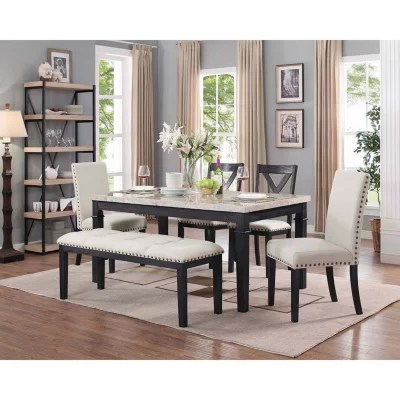 high kitchen table sets wall mounted cabinets dining tables sam s club bradley 6 piece set 2 upholstered side chairs x
