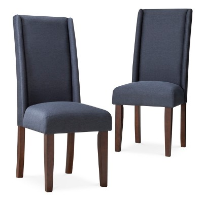 Charlie modern wingback dining chair set of 2 navy product details