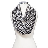 WOMEN'S HOUNDSTOOTH PATTERN INFINITY SCARF - BLACK/WHITE