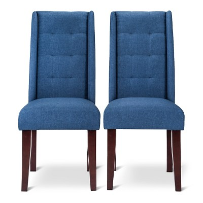 Charlie modern wingback pin tuck dining chair set of 2 product