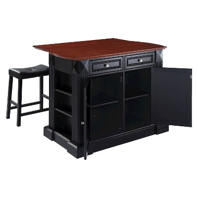 Drop Leaf Breakfast Bar Top Kitchen Island with Stools