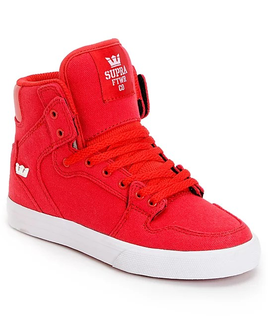 Supra Kids Vaider Red Canvas High Top Skate Shoes at