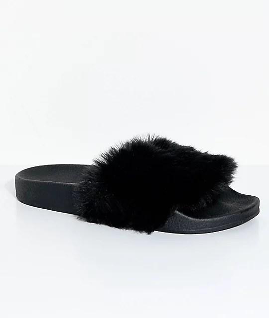 TheWhiteBrand Black Fur Slide Sandals  Zumiez