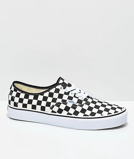 cd89c8662a Vans Authentic Golden Coast Black Checkered Skate Shoes Zumiez ...