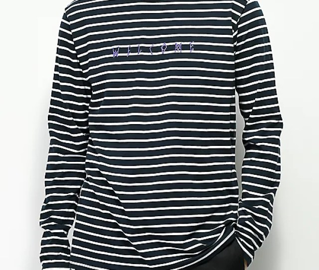 Welcome Scrawl Navy White Striped Long Sleeve T Shirt