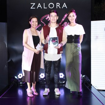Male Style Star of the Year Jake Ejercito with Anna Austria, Head of Business Development, ZALORA Philippines and Kaila Estrada