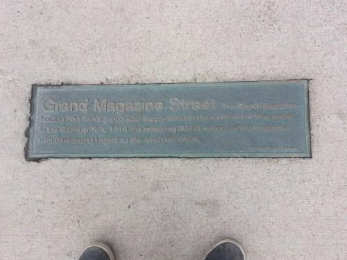 Grand Magazine Street plaque