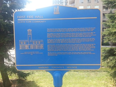 North York's First Fire Hall plaque