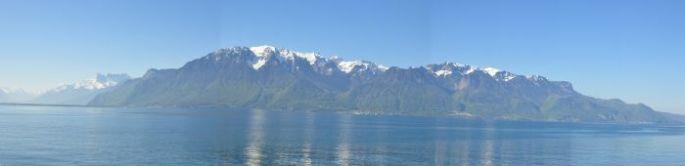 French Alps across Lake GenevaC