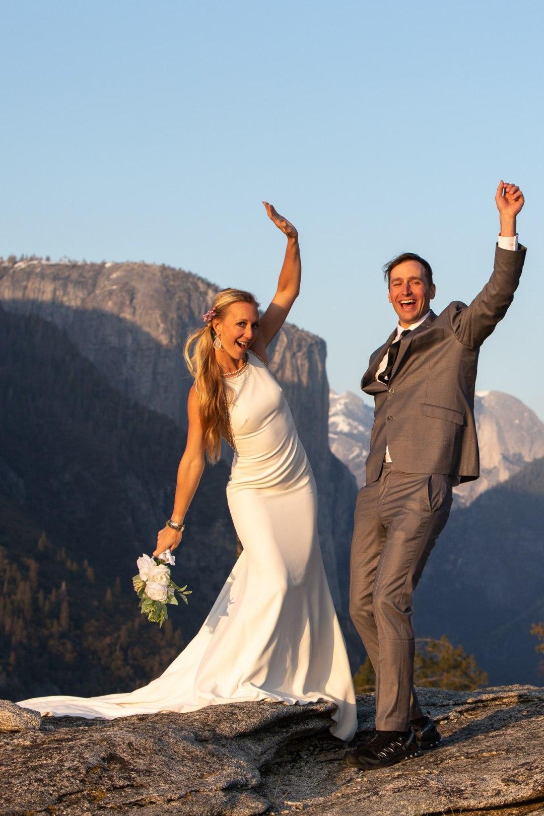 Couple near El Cap Meadow, great spot for a low key Yosemite Elopement.