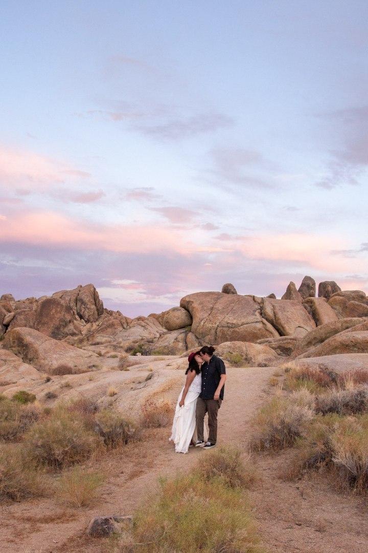 Bride and Groom kiss after Alabama Hills Adventure Elopement