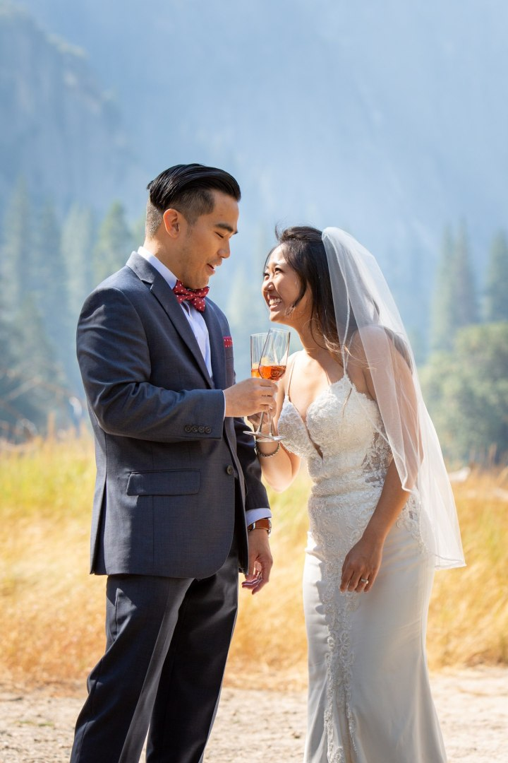 Groom ,akes a toast to his new wife at their yosemite intimate wedding.