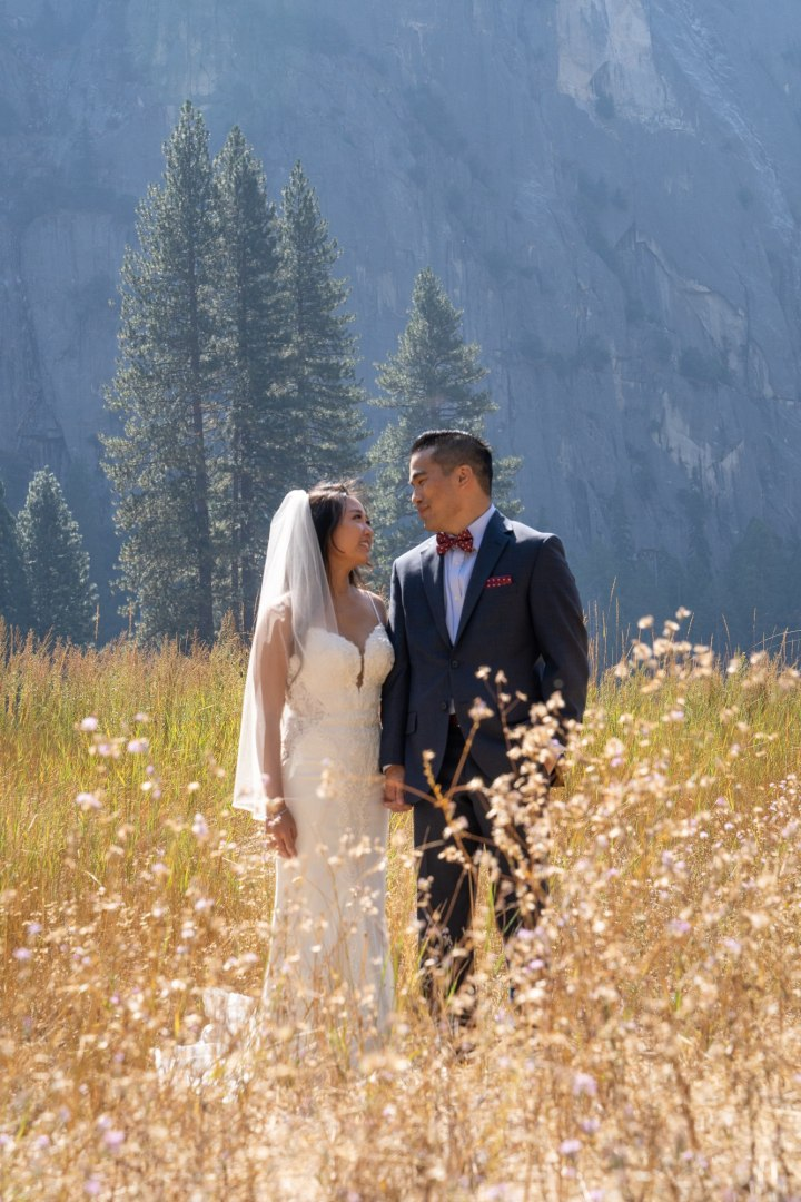 Bride and groom staring at each other in awe,  they just had a beautiful Yosemite elopement!