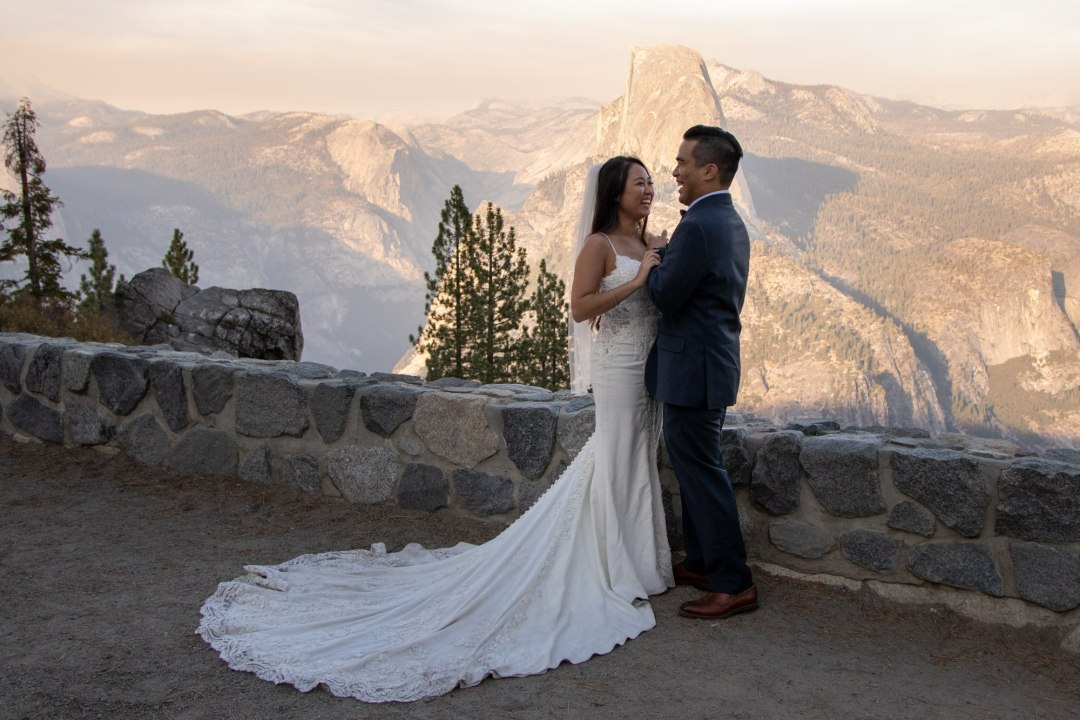 Hugs and sunset, what a great way to cap off a great Yosemite wedding!
