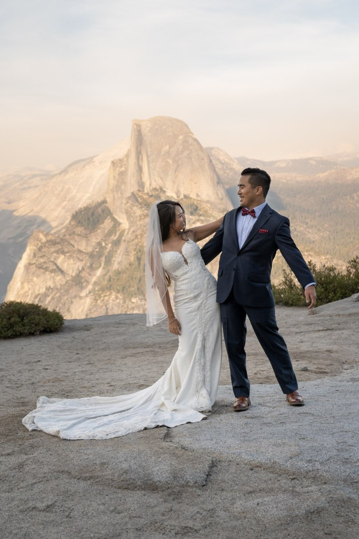 This couple danced and howled at the moon after their aweseom Glacier point elopement.