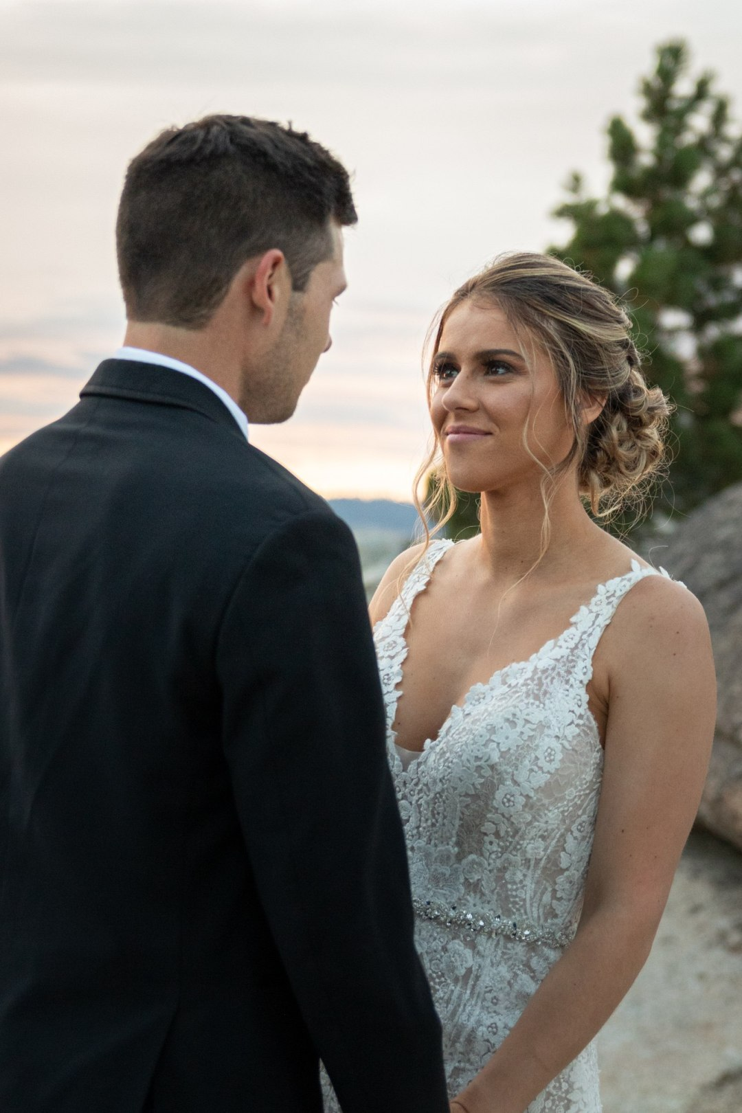 Bride and Groom looking at each other after their Taft Point wedding ceremony