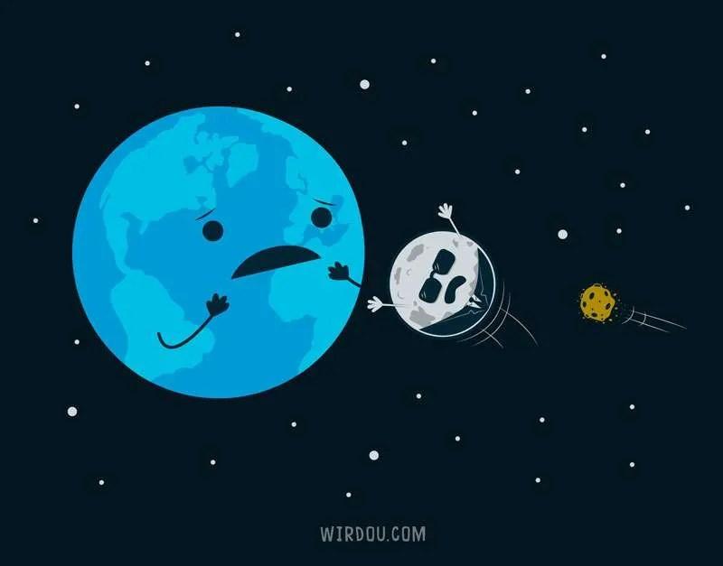 luna, tierra, universo, astronomía, meteoritos, cráteres, atmósfera, ciencia, divertido, gracioso, científico