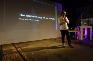 Talking about the car as an olfactory artifact at Mediamatic in Amsterdam