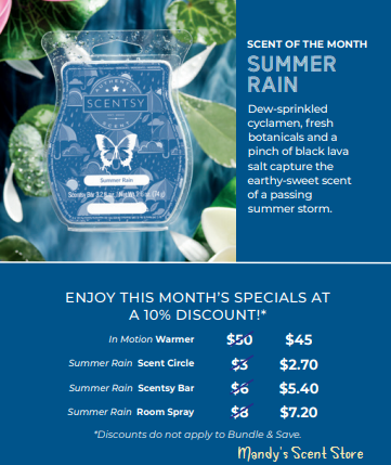 Summer Rain Scentsy Scent July 2019