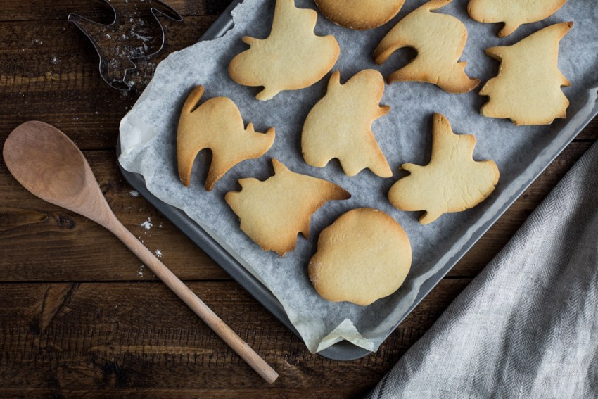 photo of baked halloween shaped sugar cookies