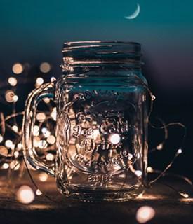 jar with mason lights