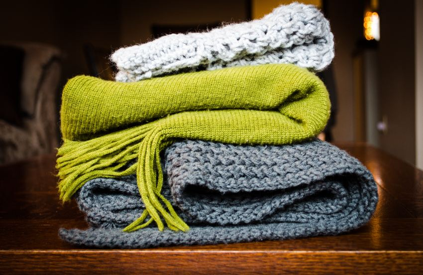 Photo of a stack of blankets