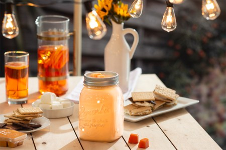 Photo of Scentsy's Chasing Fireflies Warmer atop a summery camp scene with smores