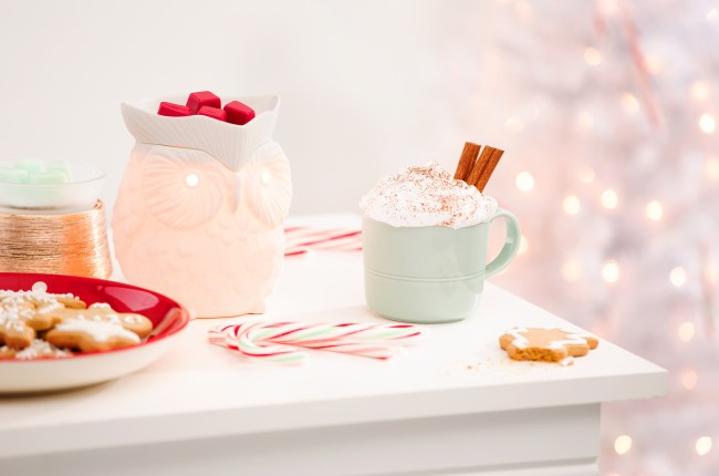 Photo of holiday scene with Scentsy warmer warming wax