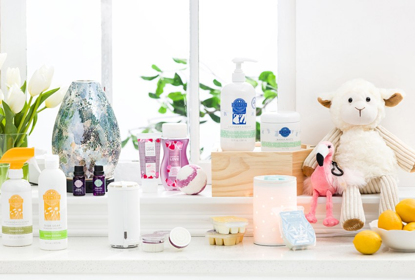 Collection of Scentsy products beyond warmers, from Scentsy go's, difficusers, buddies, laundry and body products