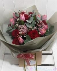 Red Rose & Pink Tulip