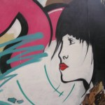 Street art, profile of a young woman
