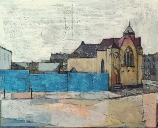 St Andrew's Ukrainian Church in Leith with bright blue hoarding in the foreground