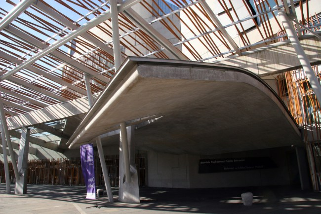 Scottish Parliament designed by Enric Miralles bearing strong resemblance to Barcelona market