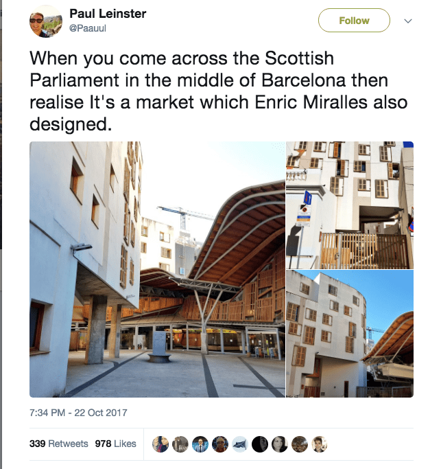 Tweet from Paul Leinster on finding similarity between Miralles designs for Scottish Parliament and Mercat Santa Catrina