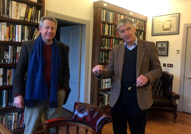 Ian Friaser (left) and Ray Perman in the Library of Mistakes, surrounded by books chronicling the history of financial blunders that just keep on repeating.