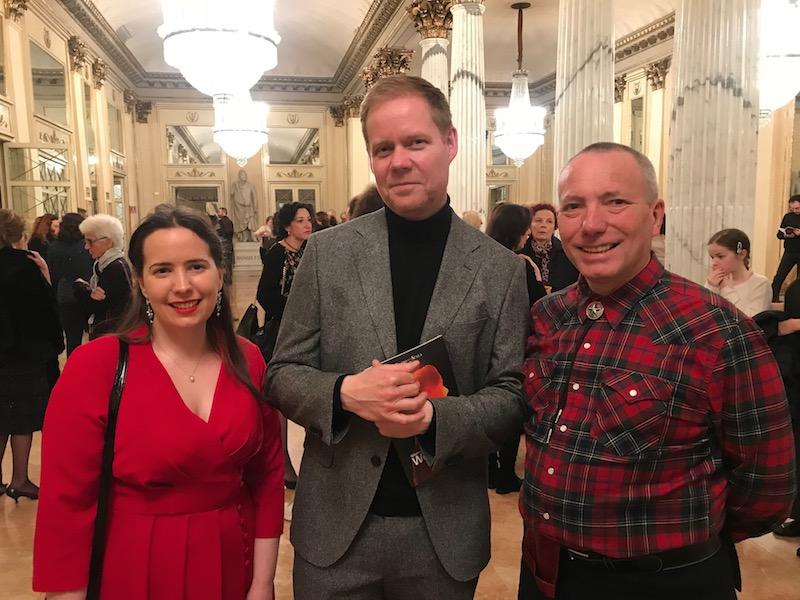Chance encounter: Gordon and his daughter Eilidh Munro meet Max Richter at La Scala
