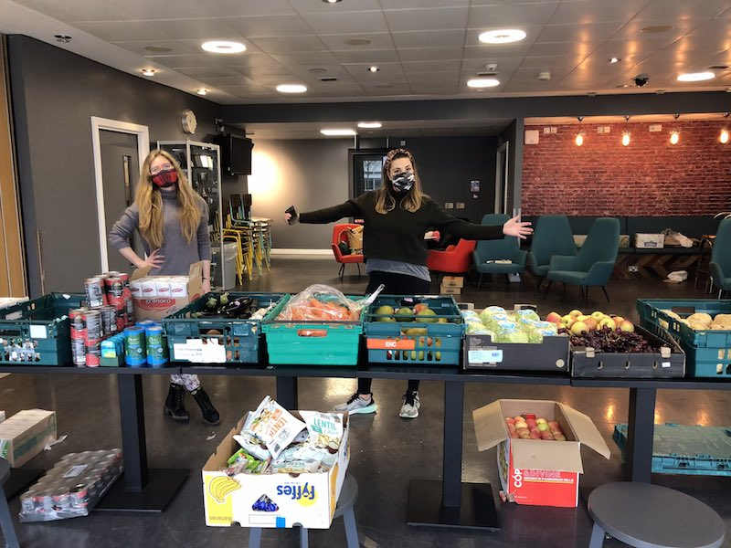Setting up show: the QMU Food Pantry – picture courtesy @QMSU twitter post