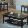 3394 dark brown wood coffee table 2 end tables set furniture